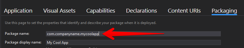 UWP Package Name